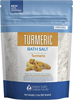 Turmeric Bath Salt 32 Ounces Epsom Salt with Natural Turmeric, Cinnamon, Ylang Ylang, Orange and Grapefruit Essential Oils...