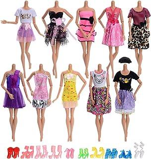 Asiv 20 Piezas Ropa y Zapatos para Muñeca Doll - 10 Piezas Mini Falda de Moda y 10 Pares de Zapatos para Regalo de Niña