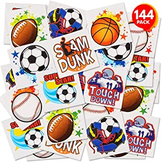 ArtCreativity Sports Temporary Tattoos for Kids - Bulk Pack of 144 in Assorted Designs, Non-Toxic 2 Inch Tats, Sports Themed Birthday Party Favors, Goodie Bag Fillers, Non-Candy Halloween Treats