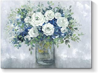 Abstract Flower Canvas Wall Art: Floral Bouquet in Glass Vase Artwork Hand Painted Painting for Bedroom (24'' x 18'' x 1 Panel)