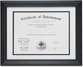 Lawrence Frames Dual Use 11 by 14-Inch Certificate Picture Frame with Double Bevel Cut Matting for 8.5 by 11-Inch Document, Black