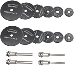 12 Pcs Rotary Drill Saw Blades, Steel Saw Disc Wheel Cutting Blades with 4 Pcs Straight Shank Mandrel for Dremel Fordom Drills Rotary Tools(1/8