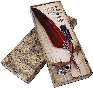 フェザーペン クラシック羽ペン 筆立て インクのポット 6つペン先付き 万年筆 署名ペン 結婚式 ウェディング 羽飾り プレゼント(红色)