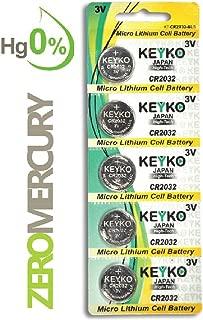 2032 Battery - 5 pcs Pack - 3V Lithium Buttom Coin Cell Battery Type 3.0 Volt: CR2032 DL2032 ECR2032 Genuine KEYKO Supreme High Energy