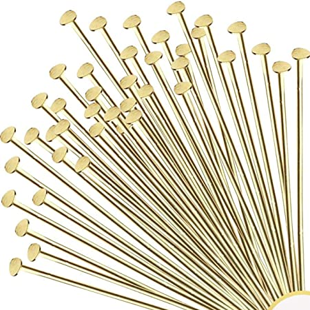 21 gauge 100 or 500 pcs 3 Inch Antiqued Gold Plated Head Pins