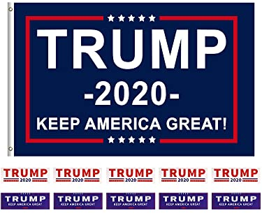 Donald Trump for President 2020 Keep America Great Flag 3x5 Feet with Grommets Plus 10 Trump Stickers