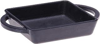 "Cast-Iron Rectangular Dish, 13.50 oz - Black - Pre-Seasoned w/Handles - Individual Size (4 ¾"" x 5 7/8"", 1"" D; 8 3/8"" w/Han..."