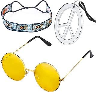 Beelittle Hippie Costume Set - Gafas Estilo círculo de los años 60 Collar de Signo de la Paz Diadema Hippie Kit de Accesorios para Fiesta de los años 60 (D)