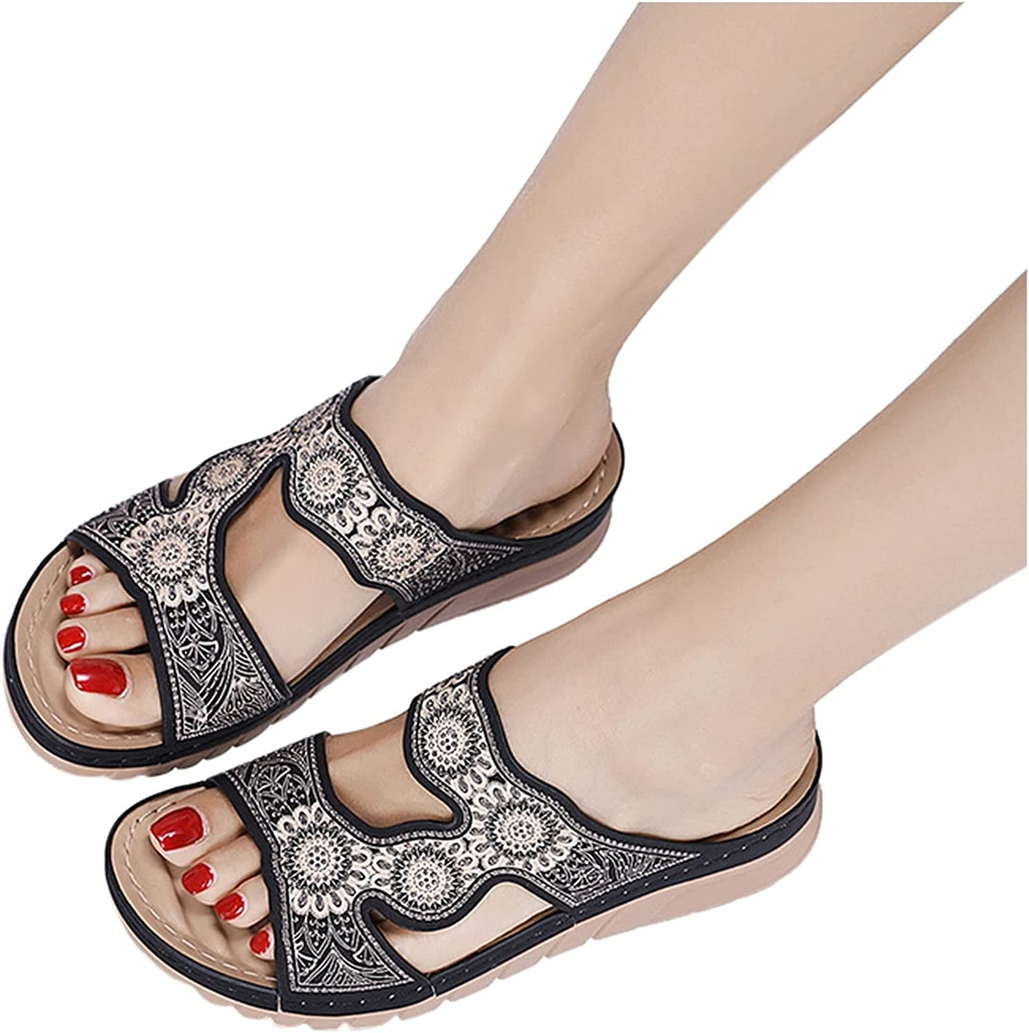 Raleigh Mall RUOYUN Women's Slippers Flat Root Embro Straps Online limited product Toe Open