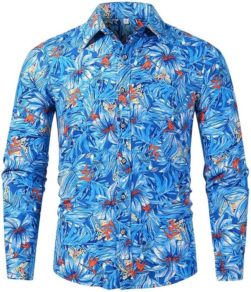 Men's Spring Fashion Floral Printed Business Lapel Dress Shirt Slim Fit Casual Shirt Long Sleeve Button Down Shirts