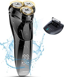 Liberex 3D-flytande IPX7 elektrisk roterande rakhyvel för män med smart LCD-skärm – våt och torr USB-laddningsbar elektris...