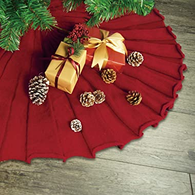 LimBridge Christmas Tree Skirt, 48 inches Knitted Ruffled Rustic Pleated Thick Heavy Yarn Knit Xmas Holiday Decoration, Red