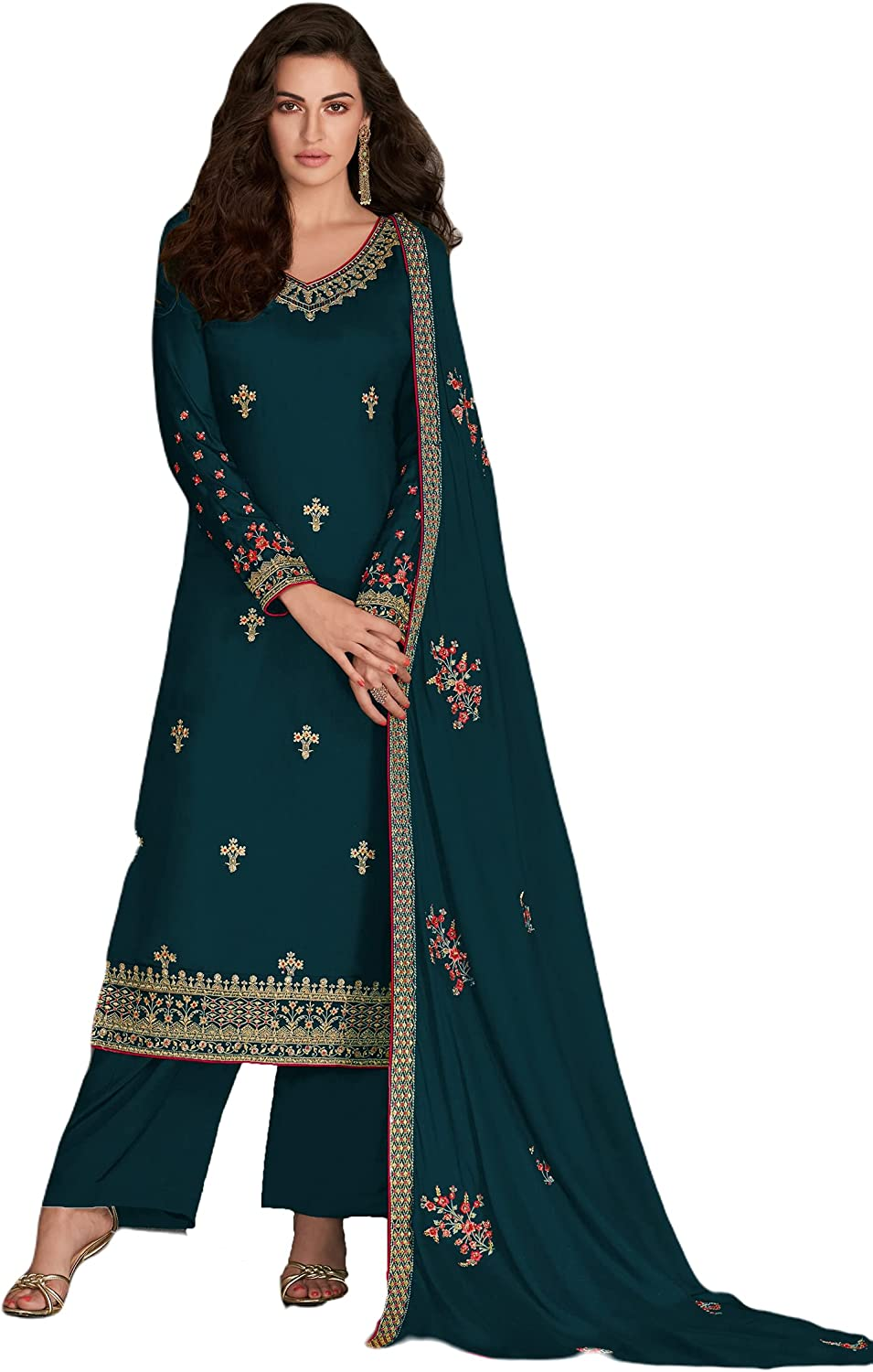 Palazzo Style Suit for Indian Pakistani Women Embroidered Dress Salwar Kameez Suit