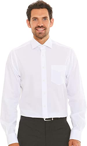 Savile Row Company Hommes's blanc Pinpoint Classic Fit Non-Iron Shirt - Single Cuff