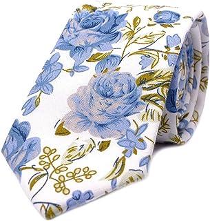 "JESLANG Men's Cotton Printed Floral Tie 2.56"" Skinny Narrow Necktie Various Designs"