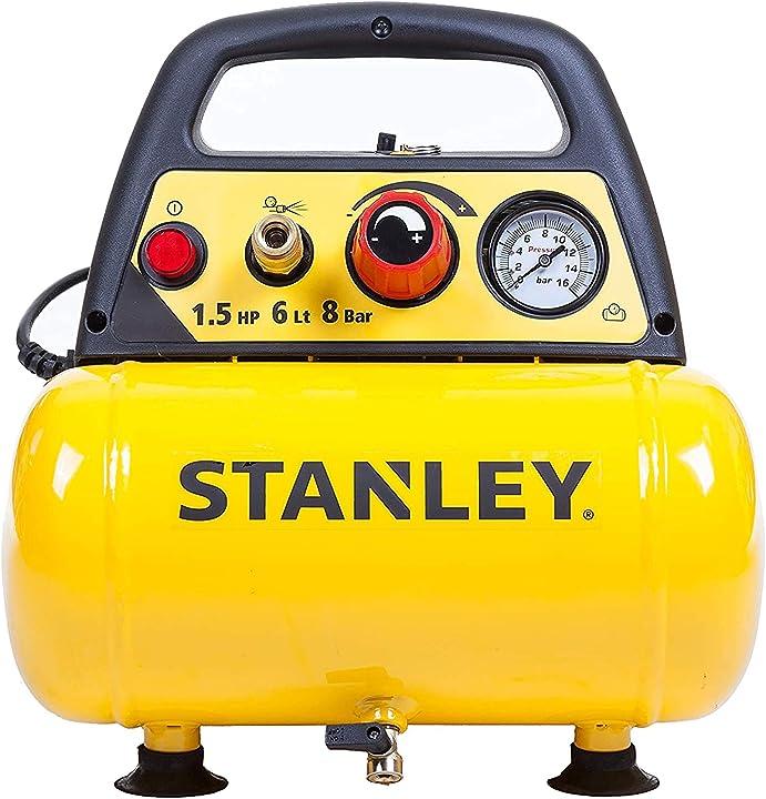 Compressore 6 lt 1 5hp pressione max 8 bar/116 ps rumorosità: 97 db stanley d 200 DN200/8/6