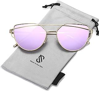 عینک آفتابی SOJOS Cat Eye Mirrored Flat Street Fashion Metal Frame Women SJ1001