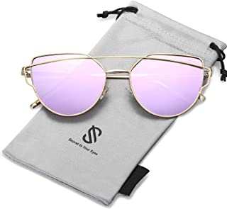 SOJOS Mode Twin-Beams Metallique Lunette de Soleil Femme Œil de Chat Miroité Verres Plats Lentille Street Fashion Cateye W...