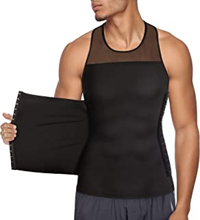 Chumian Mens Compression Shirt Slimming Body Shaper Undershirt Tummy Control Vest Workout Tank Top for Abdomen