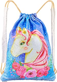 Play Tailor Sequin Unicorn Drawstring Bag Flip Sequin Backpack Glittering Outdoor Sports Bag Dance Bag, Unicorn and Flowers