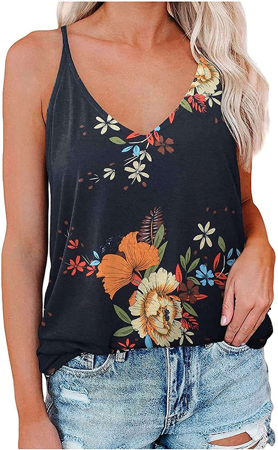 JPLZi Women's V Neck Strappy Loose Flowy Tank Tops Cute Leopard Summer Casual Printed Sleeveless Shirts Blouses