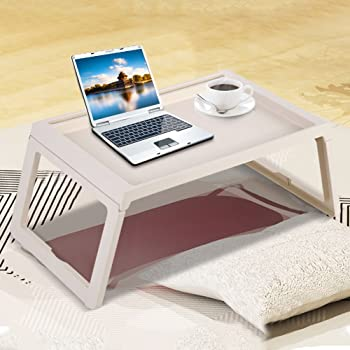 GOTOTOP Mesita plegable y ajustable para ordenador o cama, mesa portátil de camping con patas floding ligera de polipropileno, mesa en el sofá, cama ...