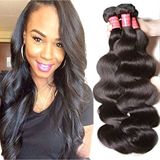 ALI JULIA Hair 8A Brazilian Virgin Hair Body Wave 3 Bundles 100% Unprocessed Virgin Brazilian Wavy Human Hair Weave Extensions 95-100g/pc (14 16 18inch)