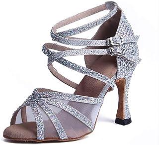 Syrads Zapatos de Baile Latino con pedrer/ía para Mujer Salsa Tango Moderna Bachata Zapatos de Baile de Sal/ón Suela Blanda 1057-1