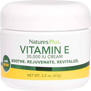 NaturesPlus Vitamin E Cream - 30,000 iu, 2.2 oz - Helps Relieve Dry Skin, May Soothe Minor Skin Irritations- with MSM, Alo...