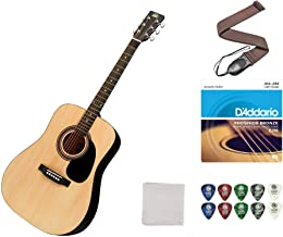 Rogue RA-090 Dreadnought Acoustic Guitar - Natural Bundle With Strap, Strings, Picks, and Polish Cloth. Perfect Beginner Guitar and Most Popular Accessories