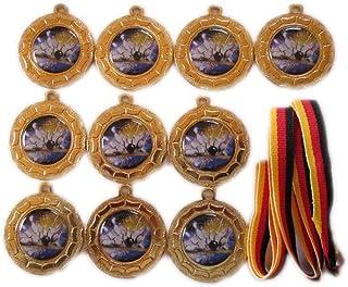 10 Bowling-Medaillen mit farbigen Emblemen, Deutschland Bän