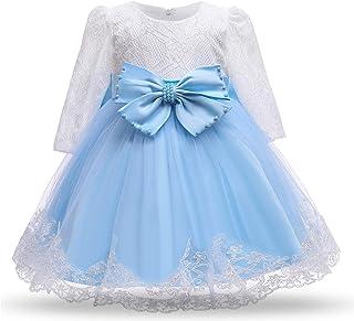 TTYAOVO Bébé Filles Brodé Fleur Princesse Demoiselle d'honneur Mariage Manches Longues Fête d'anniversaire Robe en Tulle