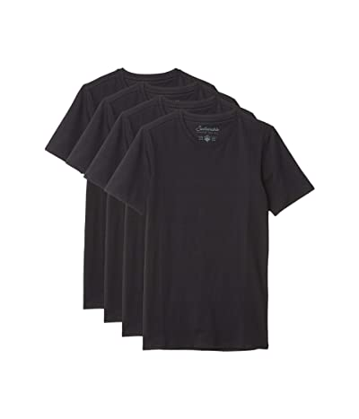 PACT Stretch-Fit Crew Undershirt 4-Pack (Black) Men