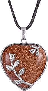 روك لاود الطبيعية شفاء كريستال قلادة شكل قلب الحب حجر قلادة شاكرا ريكي مجوهرات للنساء والرجال