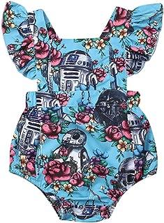 MSDMSASD Toddler Baby Girls Floral Dresses Star Wars Clothes Ruffle Backless Princess Tutu Sundress(6M-4T)