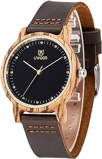 Wood Watch,BIOSTON Casual Dress Vintage Cowhide Strap Wood Quartz Wristwatch