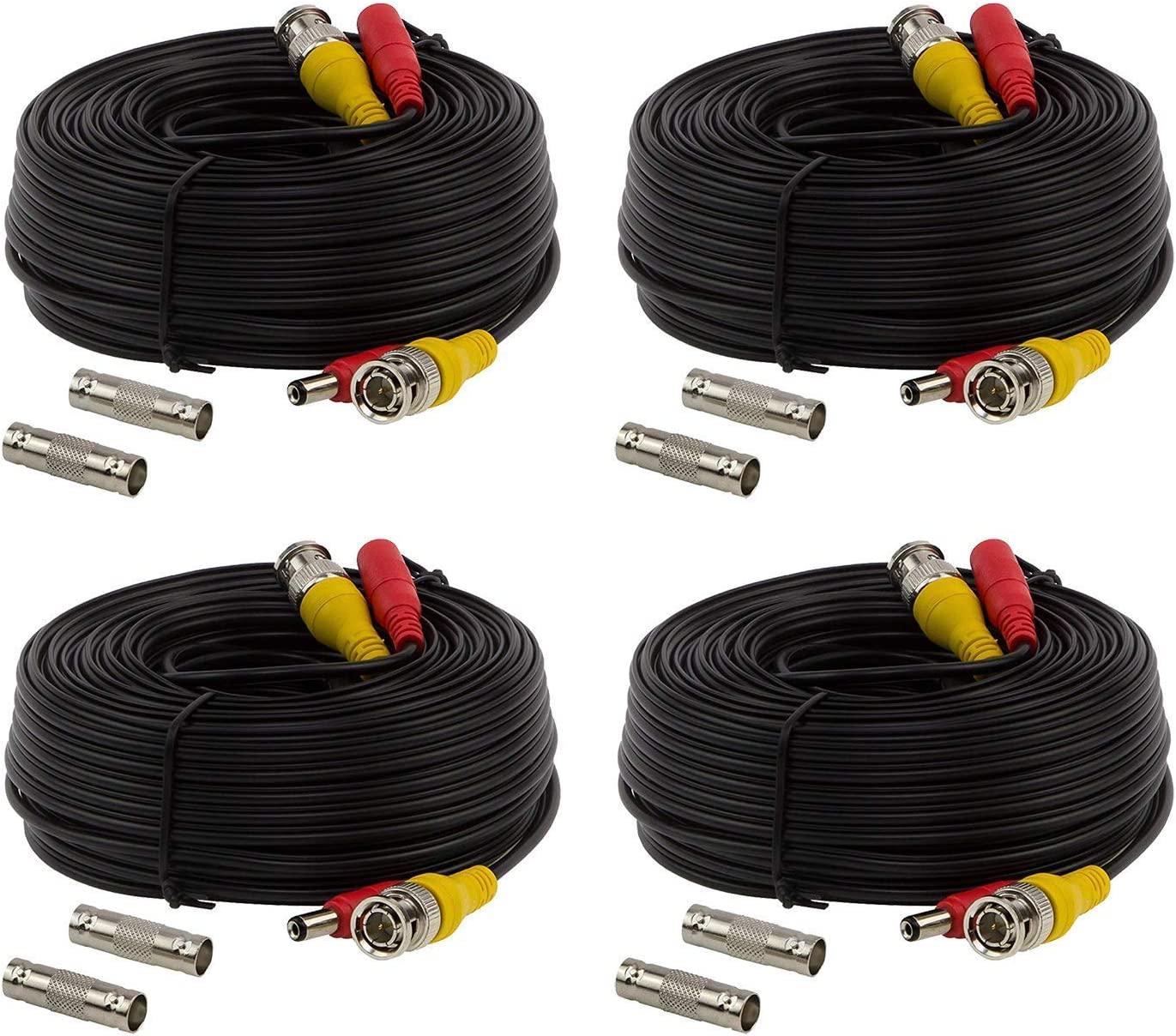 100ft BNC Video Power Cable, BNC Extension Wire Cord with Connectors All in one premade Siamese Cable for Surveillance CCTV Security Camera Video System – Black 4 Packs by InstallerCCTV