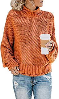 Women's Winter Oversized Turtleneck Batwing Sleeve Chunky Pullover Sweaters Jumpers
