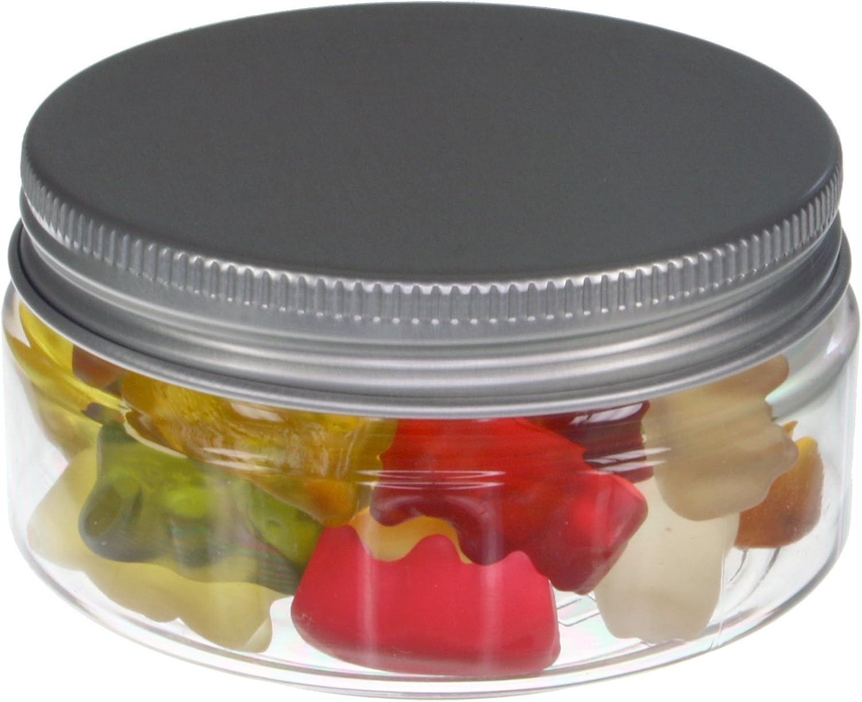 Tarros de 100 ml de PET transparente, con tapa de aluminio, plato, 10 piezas