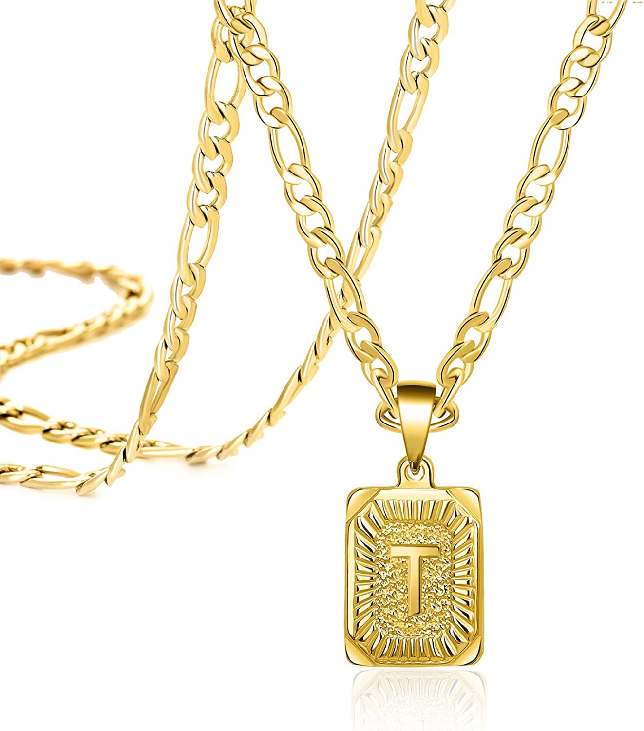 JoycuFF 18K Gold Filled Initial Pendant Necklace Letter Beauty products Square Dallas Mall A