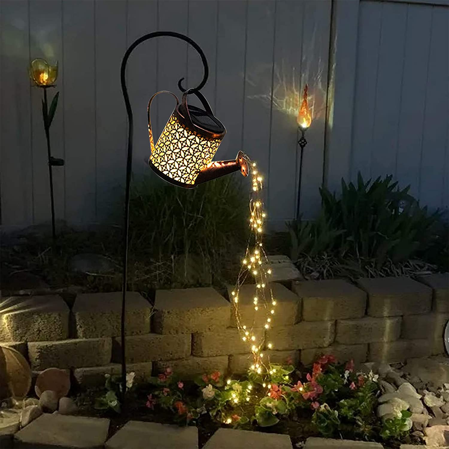 Ankishi LED Garden Shower Lights, Solar Powered Watering Can with Lights, Outdoor Decor Lights Waterfall Vine String Lights Watering Sprinkles Starry Copper String Light for Garden Yard Plant Vines