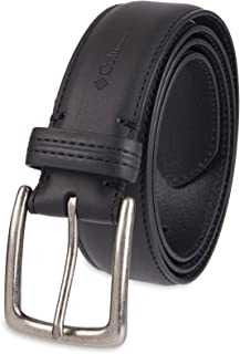 Men's Casual Leather Belt -Trinity Style for Jeans Khakis Dress Leather Strap Silver Prong Buckle Belt