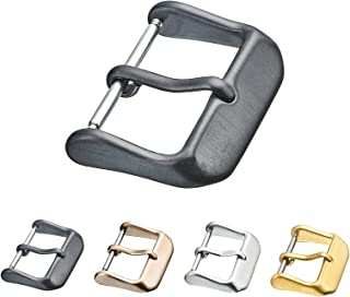 Replacement Steel Buckle for Watch Bands - Leather Watch Straps Clasp in 16mm, 18mm, 20mm, 22mm, 24mm, 26mm - Silver, Black, Rose Gold, Yellow Color