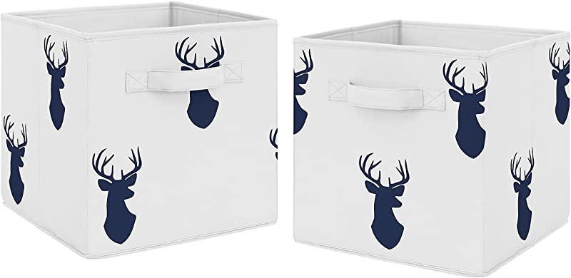 Navy Blue Deer Foldable Fabric Storage Cube Bins Boxes Organizer Toys Kids Baby Childrens For Woodland Deer Stag Collection By Sweet Jojo Designs Set Of 2