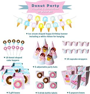 Donut Party Supplies and Decorations - Donut Themed Party Supplies Set and Tableware Kit | Donut Party Supplies for Girls Birthday Party Ice Cream Party Baby Shower & Donut Birthday Party Decorations
