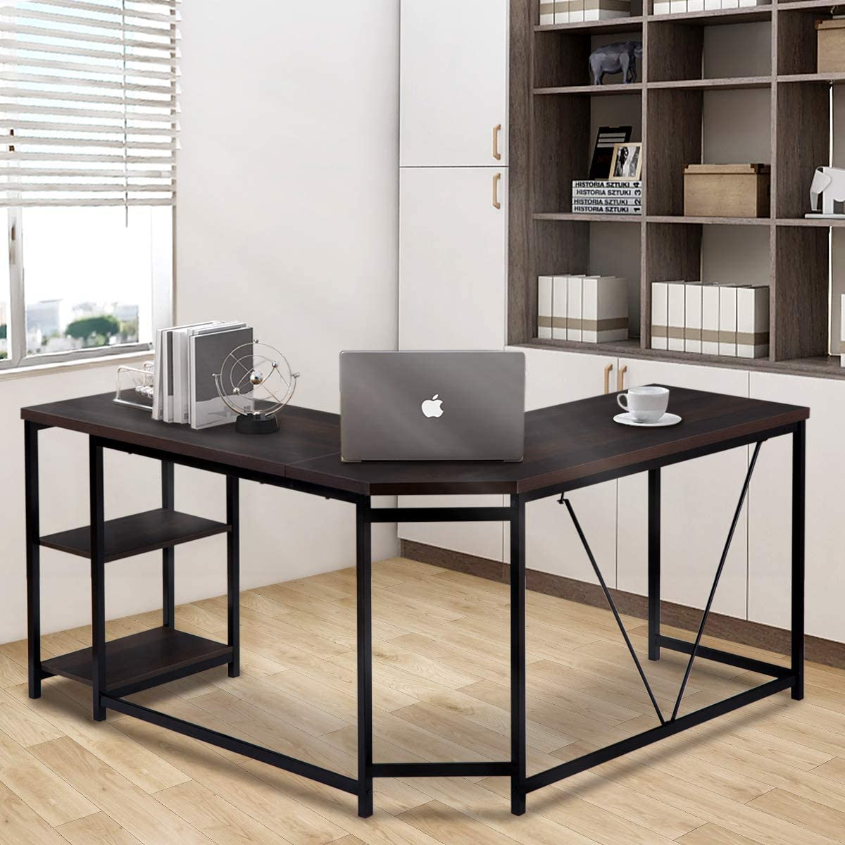 L Shaped Computer Desk with 2-Tier Home for Offi Storage Limited time shopping free shipping Shelves