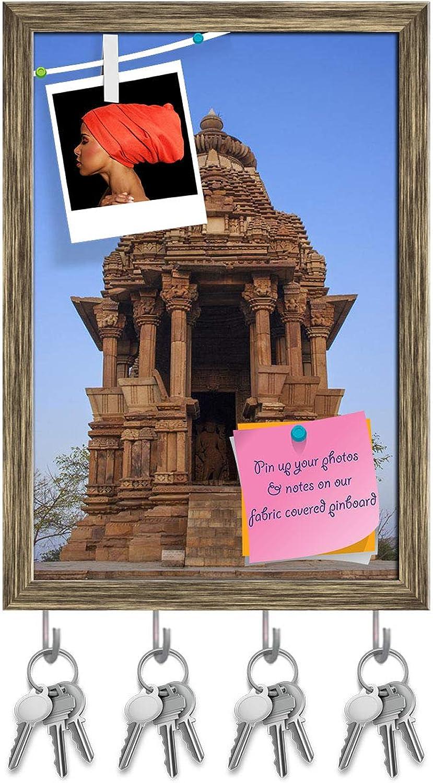 Artzfolio Javari Temple Khajuraho India Key Holder Hooks   Notice Pin Board   Antique golden Frame 12 X 17.5Inch