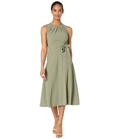 Calvin Klein Belted Midi Dress with Bodice Pleat Detail (Olive) Women