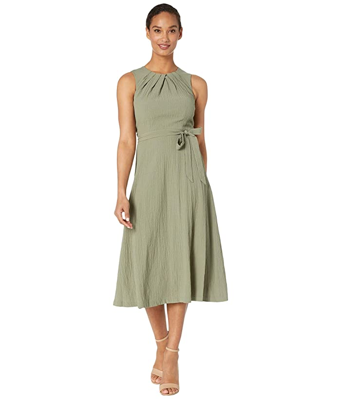 Belted Midi Dress with Bodice Pleat Detail (Olive) Women's Dress