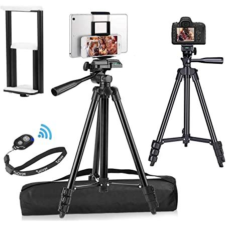 """PEYOU Compatible for iPad iPhone Tripod, 55"""" Lightweight Aluminum Phone Camera Tablet Tripod + Wireless Remote + Universal 2 in 1 Mount Holder for Smartphone,Tablet (Black)"""